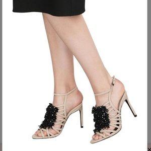 Zara Nude Open Heels  beaded front Black 10
